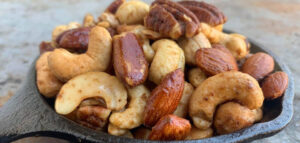 smoked nuts in cast iron pan